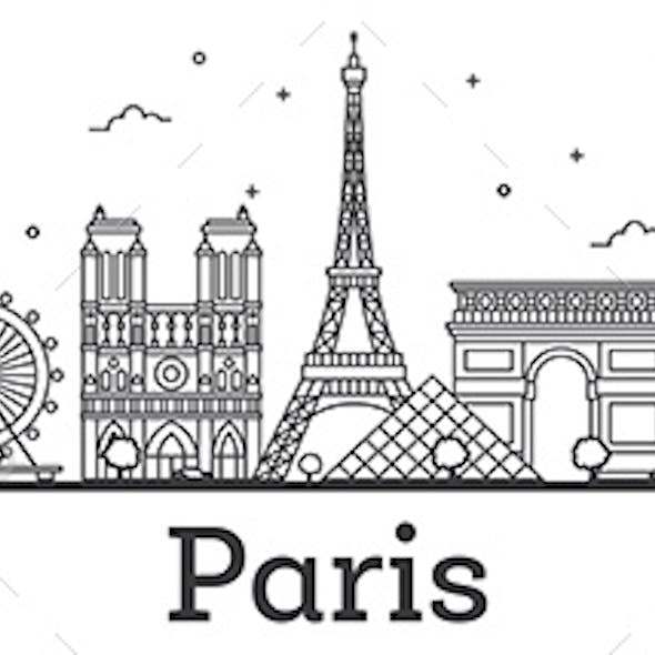 Outline Paris France City Skyline with Historic Buildings