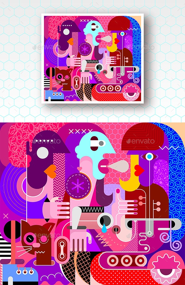 Three Women and a Cat Vector Illustration - Abstract Conceptual
