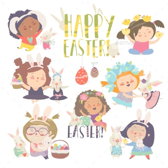 Girls with Easter Theme Happy Easter - Miscellaneous Seasons/Holidays