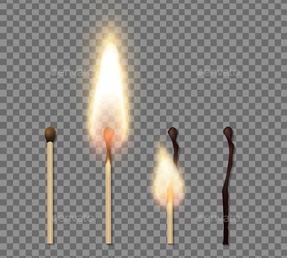 Realistic Match Stick Flame Icon Set - Seasons/Holidays Conceptual