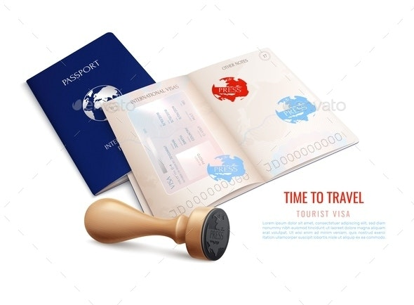 Biometric Passport Visa Stamps Realistic - Seasons/Holidays Conceptual