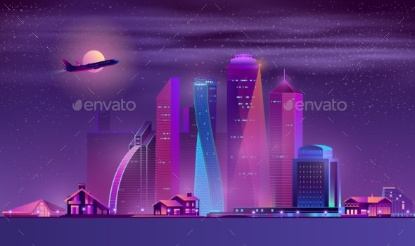 Vector Neon Megapolis Background with Buildings - Buildings Objects