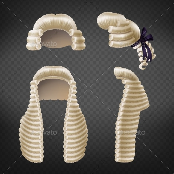 Judge Periwigs Realistic Vector Collection - Man-made Objects Objects