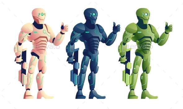 Robotic Soldiers with Plasma Gun Cartoon Vector - Miscellaneous Characters