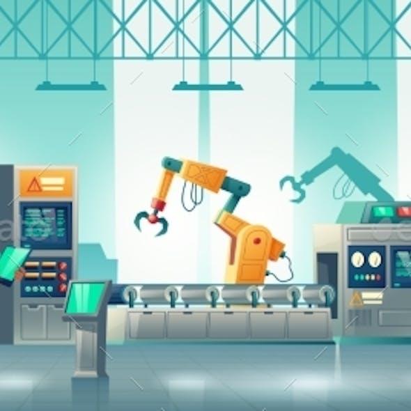 Factory Robotized Production Line Cartoon Vector
