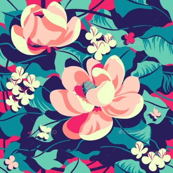 Floral Tropical Pattern Handmade Drawing Vector - Flowers & Plants Nature