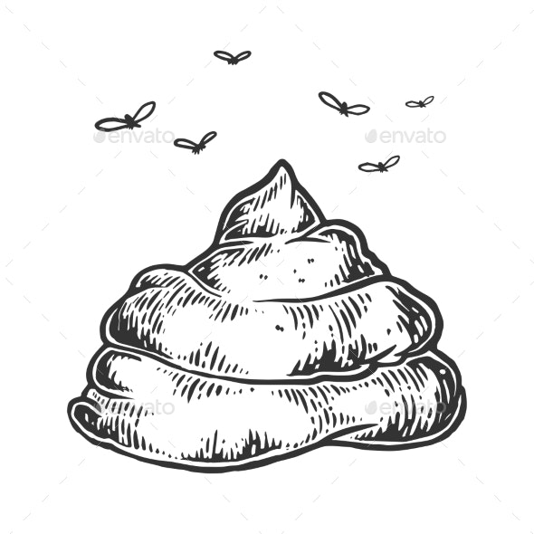 Poop with Flies Sketch Engraving Vector - Miscellaneous Vectors