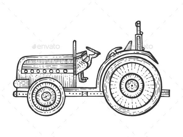 Agricultural Tractor Sketch Engraving Vector - Miscellaneous Vectors