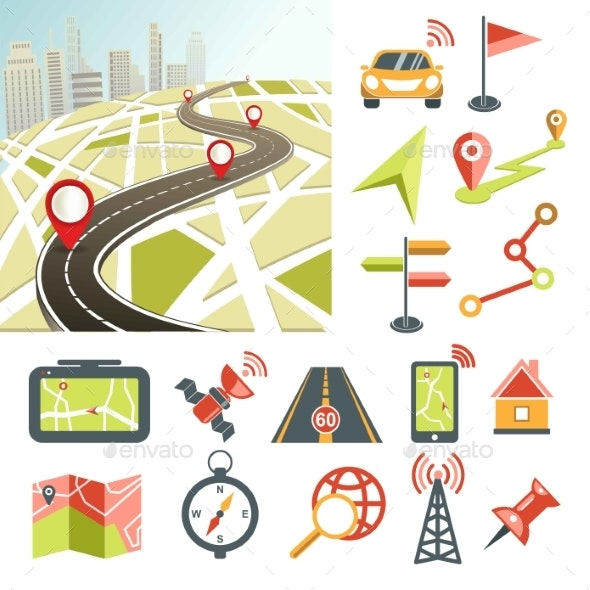 Navigation Map Road and Direction Navigative - Buildings Objects