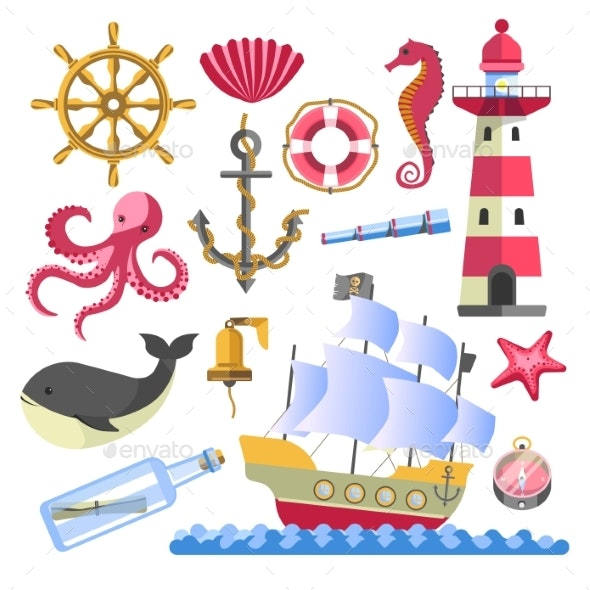 Marine Symbols Underwater Animals and Ship with - Animals Characters