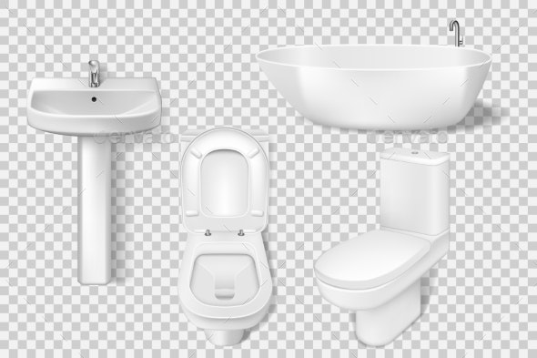 Realistic Bathroom Collection Template - Man-made Objects Objects