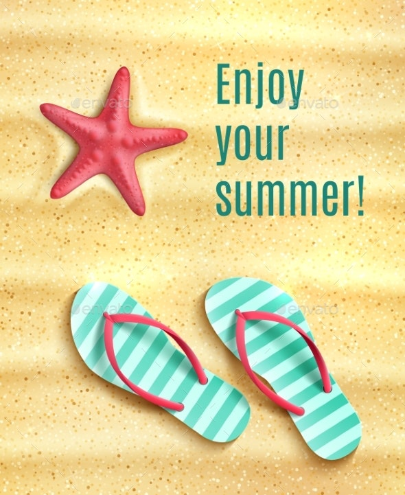 Vector Poster for Summer Beach Vacations Holidays - Travel Conceptual
