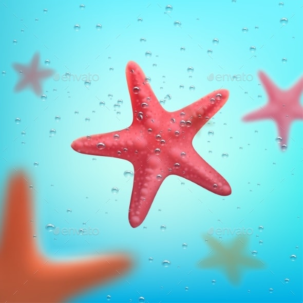 Summer Ocean Travel or Vacations Starfish Poster - Backgrounds Decorative