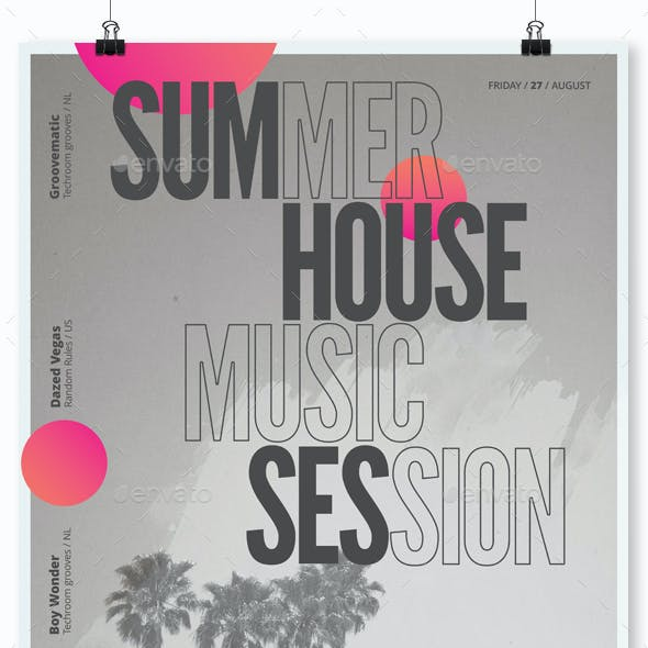 Summer House Session - Party Flyer / Poster Template A3