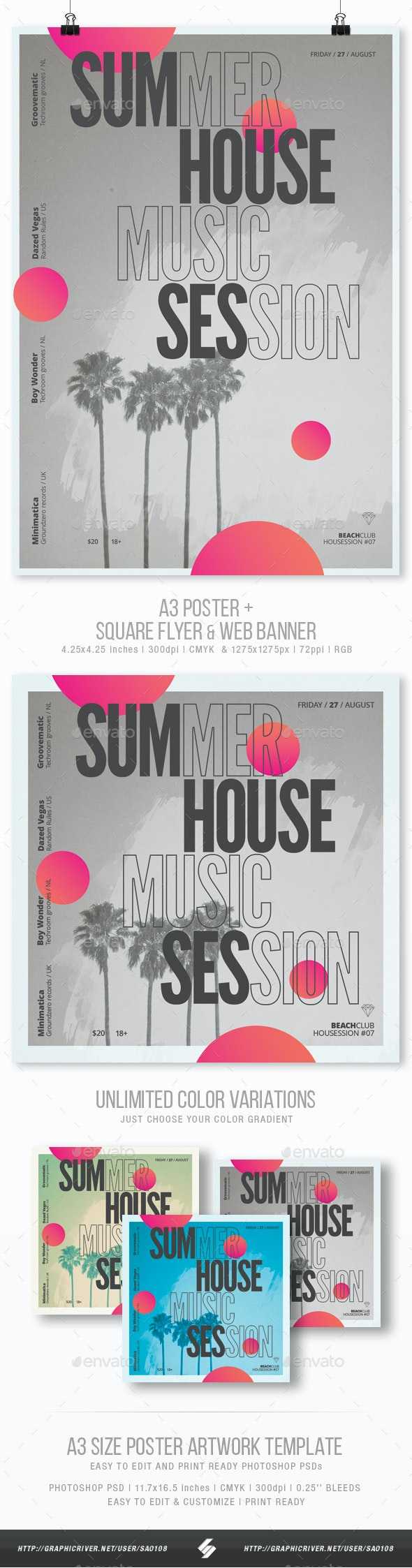 Summer House Session - Party Flyer / Poster Template A3 - Clubs & Parties Events