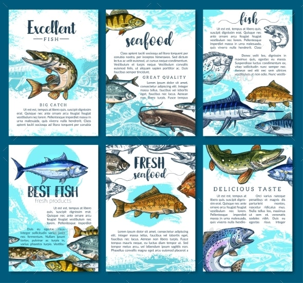 Vector Posters for Fresh Fish Seafood Market - Animals Characters