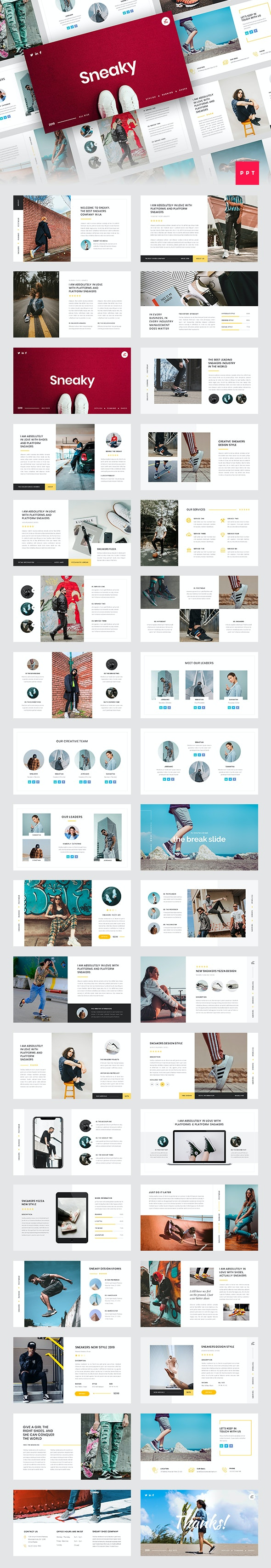 Sneaky - Sneakers PowerPoint Template - Creative PowerPoint Templates