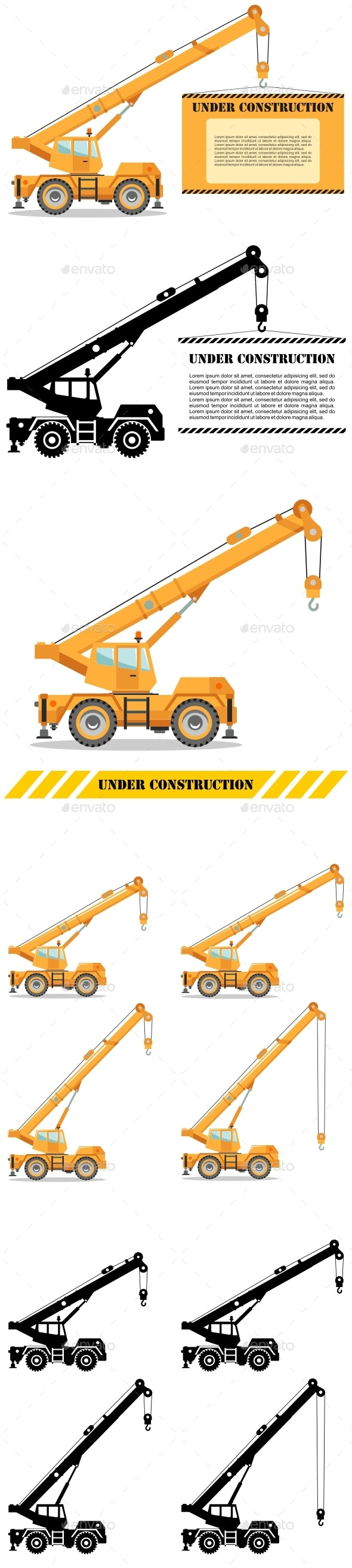Building Crane Truck with Sign - Buildings Objects