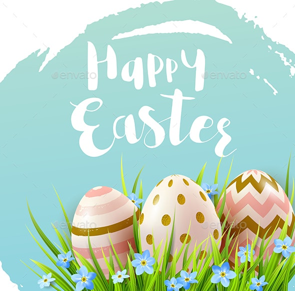 Decorative Easter Eggs and Blue Flowers - Miscellaneous Seasons/Holidays