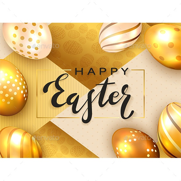 Black Lettering Happy Easter on Gold Background - Miscellaneous Seasons/Holidays