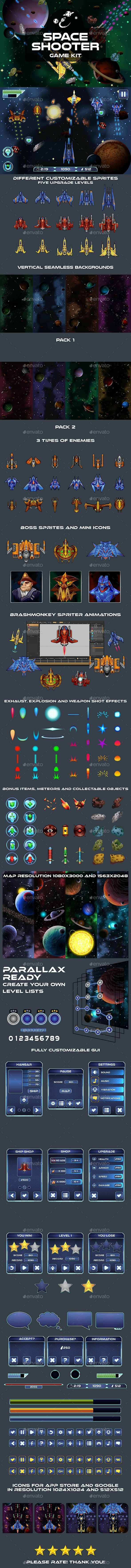 Space Shooter 2D Game Kit - Game Kits Game Assets
