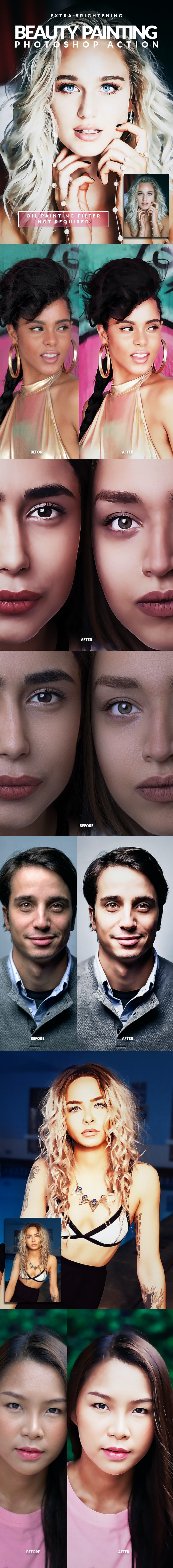 Extra Brightening Beauty Painting Photoshop Action - Photo Effects Actions