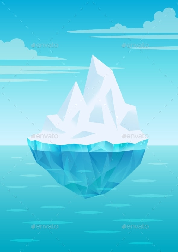 Iceberg Floating on Water Waves with Underwater - Landscapes Nature