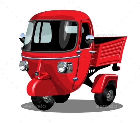 Vector Cartoon Delivery Scooter Isolated on White - Man-made Objects Objects