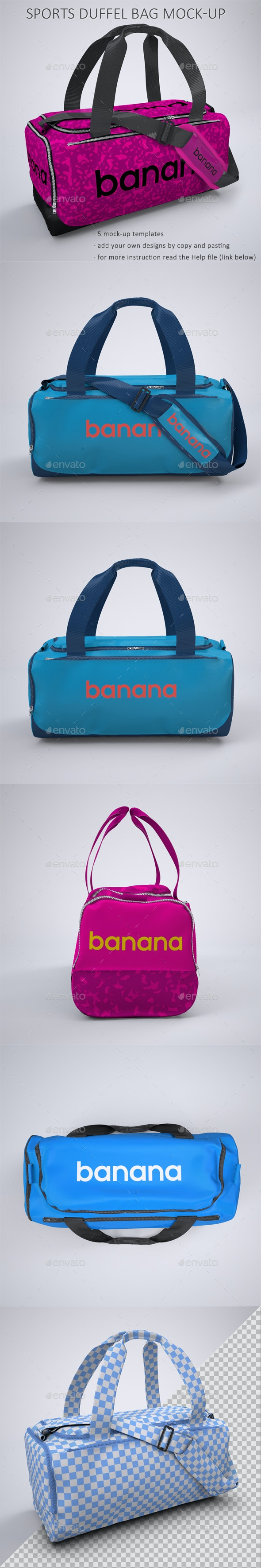 Sports Bag or Gym Duffel Bag Mock-Up - Product Mock-Ups Graphics