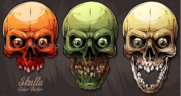 Detailed Graphic Colorful Human Skulls Set - Miscellaneous Characters