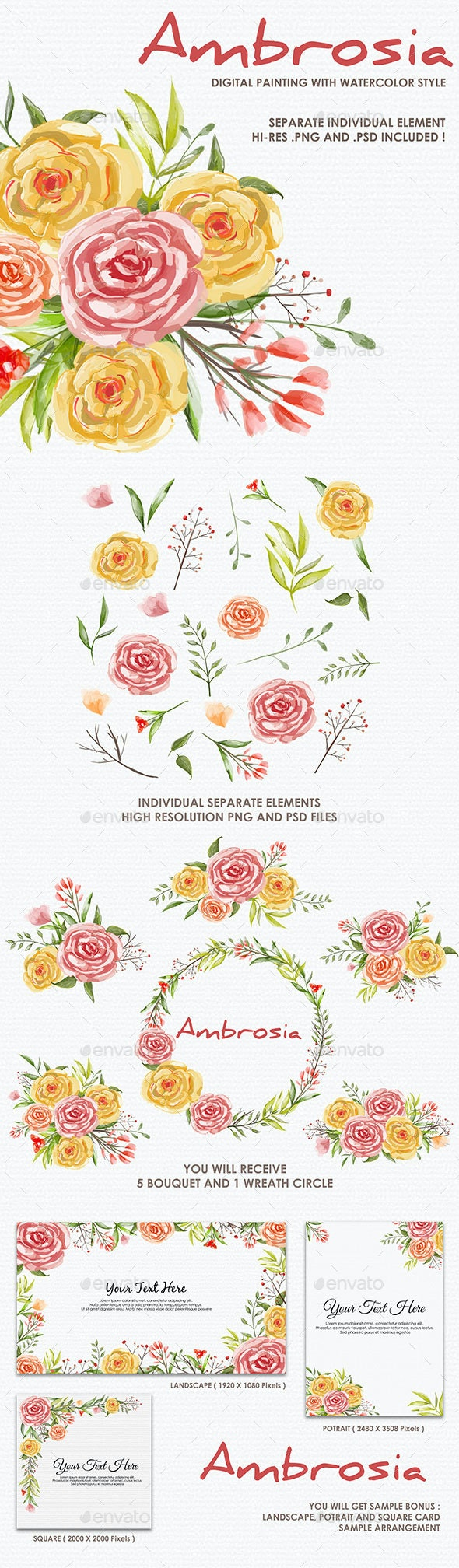 Ambrosia - Watercolor Digital Painting Floral Flowers Style - Decorative Graphics