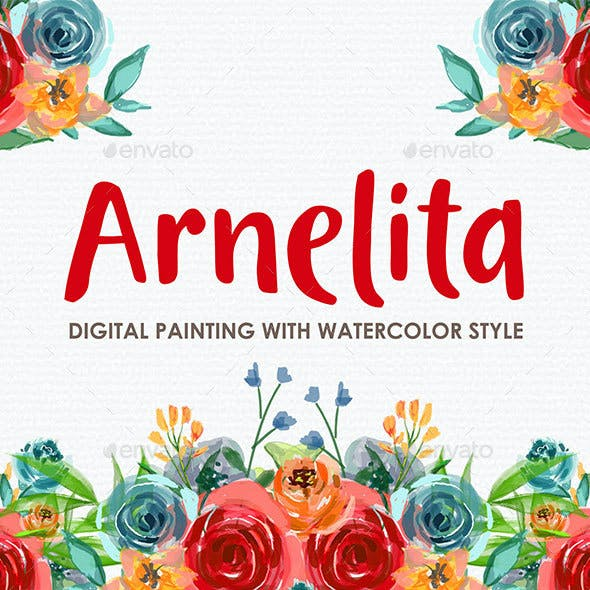 Arnelita - Watercolor Digital Painting Floral Flowers Style