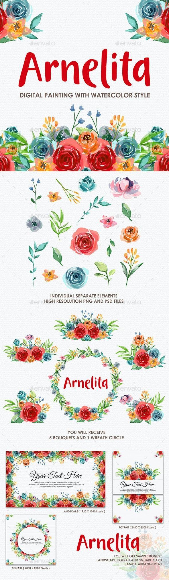 Arnelita - Watercolor Digital Painting Floral Flowers Style - Decorative Graphics