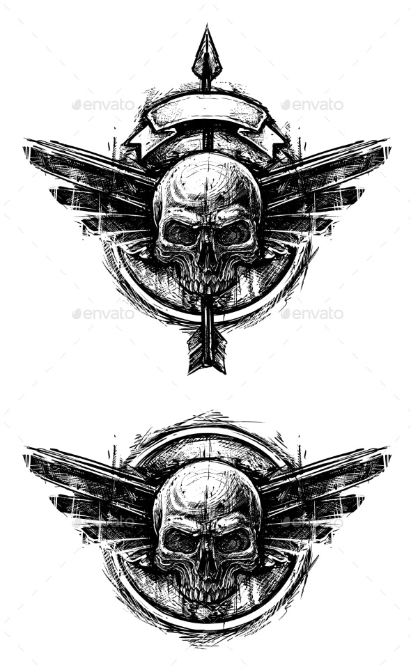Detailed Graphic Human Skull Trash Polka Line Art - Decorative Symbols Decorative