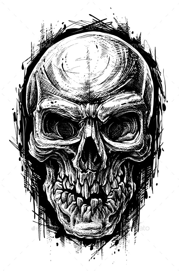 Detailed Graphic Human Skull Trash Polka Line Art - Miscellaneous Characters