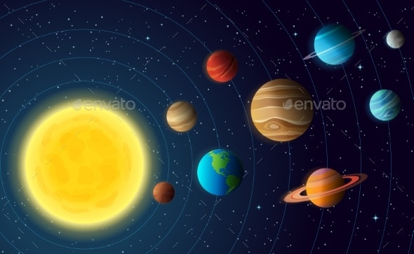 Solar System Model with Colorful Planets at Orbit - Miscellaneous Vectors