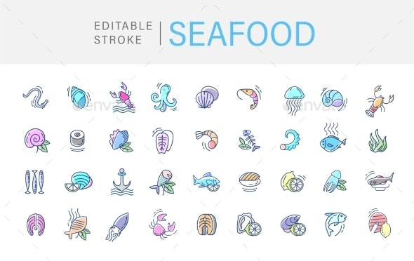 Vector Icons for Seafood Restaurant - Animals Characters
