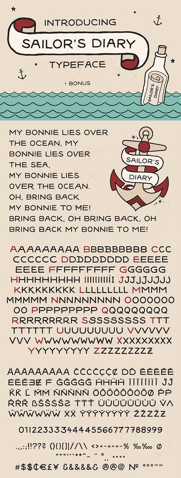 Sailors Diary Sans Tattoo Style Font - Comic Decorative