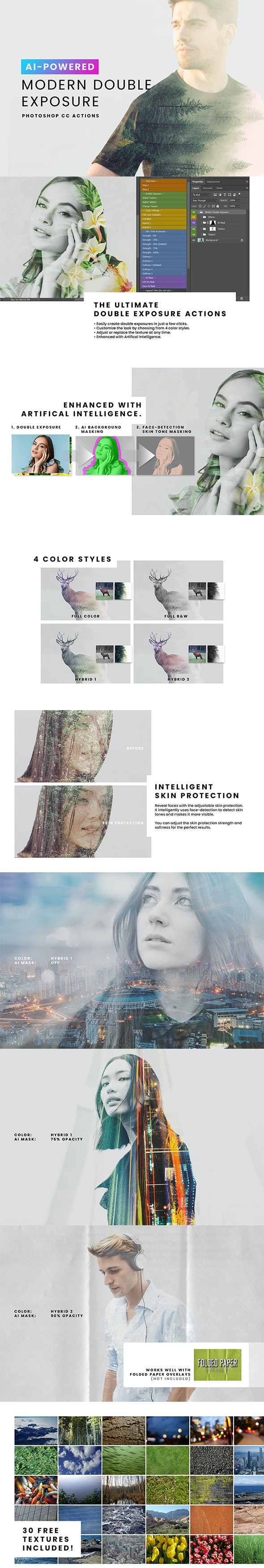 AI Modern Double Exposure Generator - Photo Effects Actions