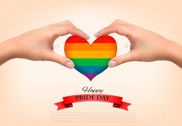 Gay Pride Concept Rainbow Heart Shaped in Hands - Miscellaneous Conceptual