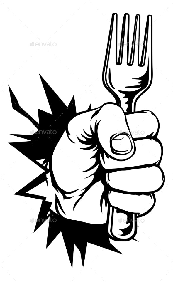 Hand Holding Fork Breaking Background - Food Objects