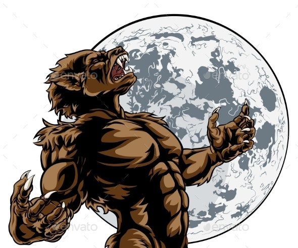 Howling Full Moon Werewolf Monster - Halloween Seasons/Holidays