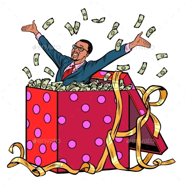 Gift Businessman with Money - People Characters