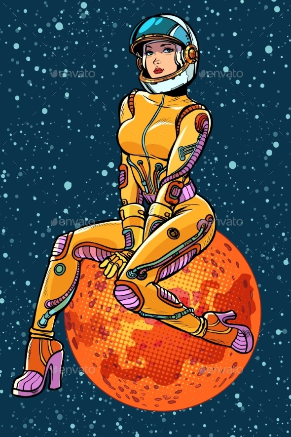 Red Planet Mars Woman Astronaut - People Characters