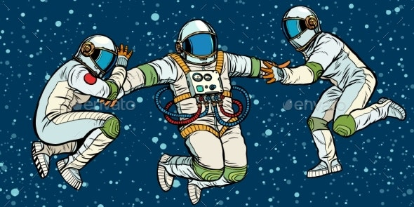 Three Astronauts in Space in Zero Gravity - People Characters