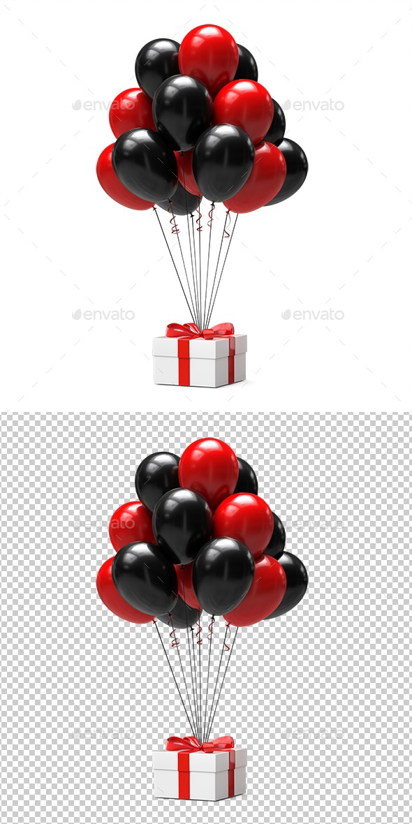 Balloons With Gift Box - Objects 3D Renders