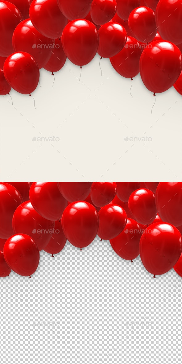 Red Balloons - Objects 3D Renders