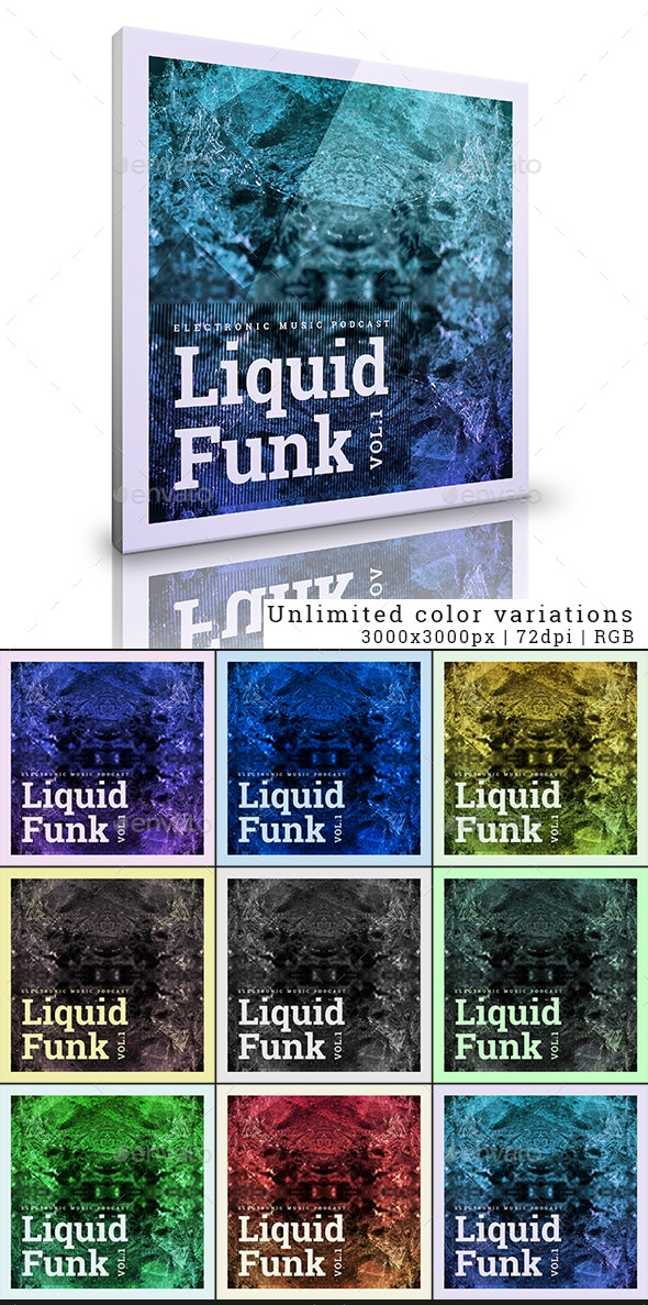 Liquid Funk Electronic Music Podcast Album Cover Template - Miscellaneous Social Media