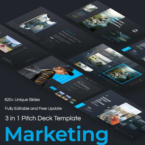 Marketing Ideas 3 in 1 Pitch Deck Bundle Keynote Template