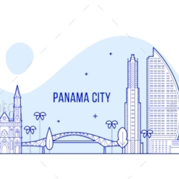 Panama City Skyline Republic Panama City Vector